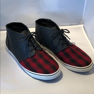 Red plaid and leather sneakers